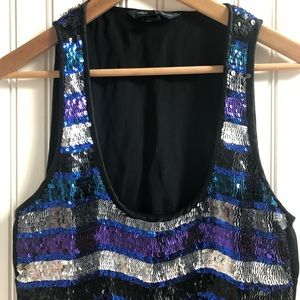 French Connection Deep Scoop Sequined Tank